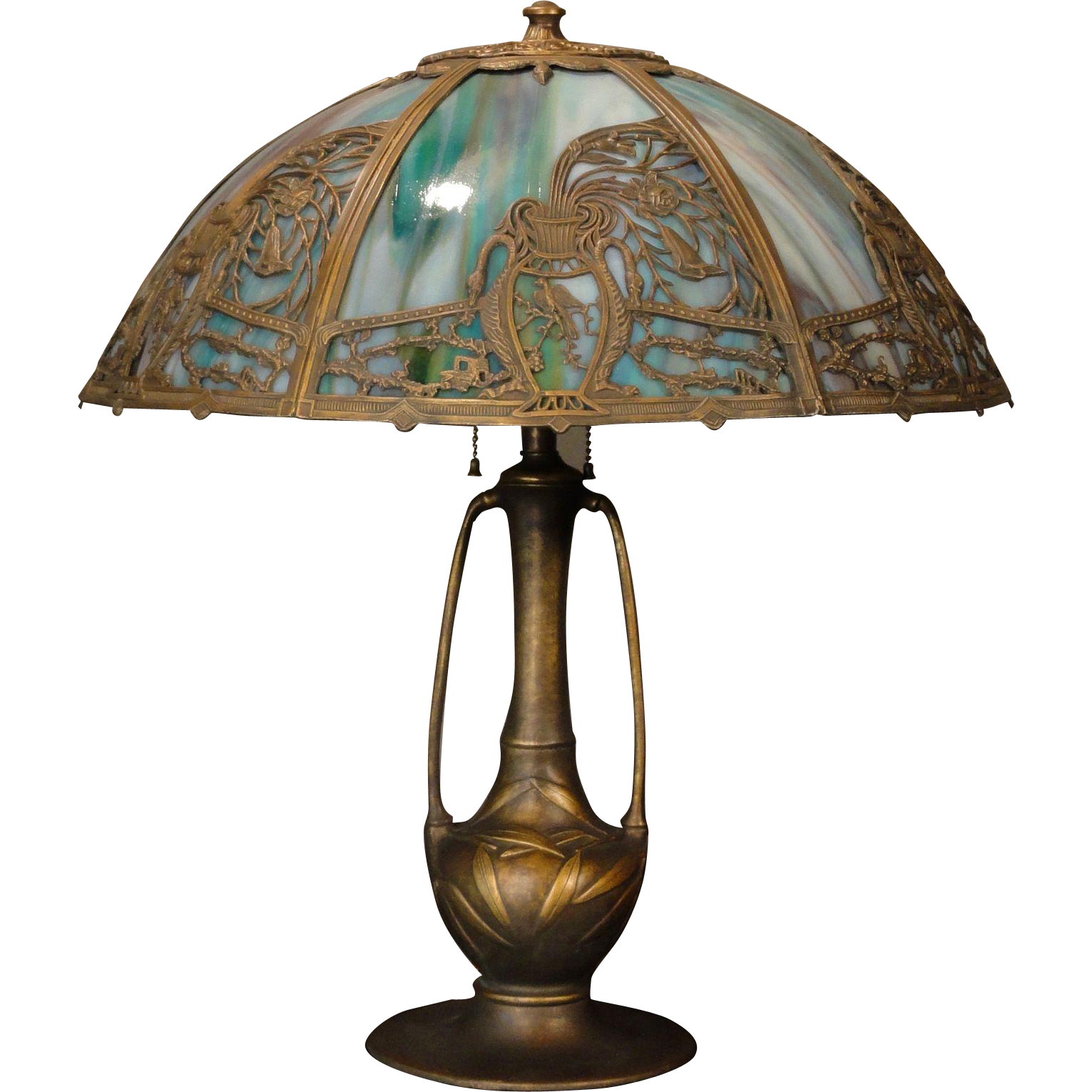 Large Stunning Art Nouveau Asymmetrical Vase & Flowers Slag Glass Lamp