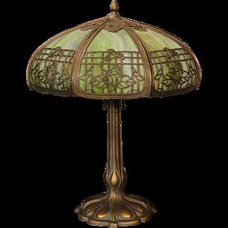 Large Empire Morning Glory Trellis Slag Glass Lamp