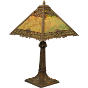 Dramatic Ornate Flower Basket Slag Glass Lamp