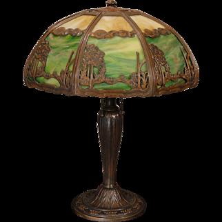 Large Rare Arts & Crafts Scenic Double Panel Slag Glass Lamp