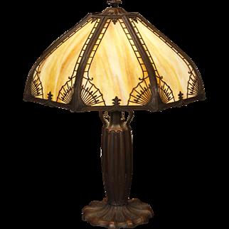 Large Elegant Wheat Design Slag Glass Panel Lamp