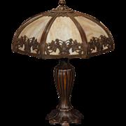 Large Beautiful Miller Art Nouveau Floral Vine Slag Glass Lamp