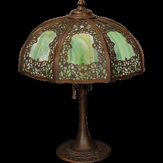 Gorgeous, Elegant Fine Filigree Overlay Slag Glass Lamp