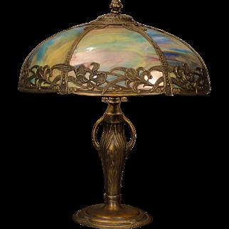 Lovely Large Art Nouveau Iris Slag Glass Lamp
