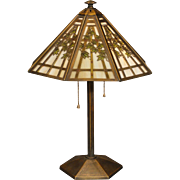Beautifully Delicate Bradley & Hubbard 3 Color Obverse Painted Bamboo Slag Glass Lamp
