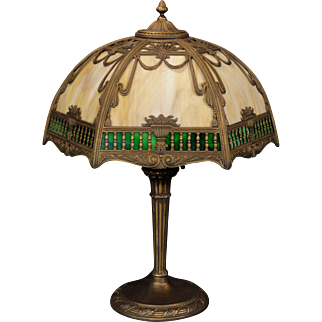Lovely Large Victorian Balcony Scene Double Slag Glass Lamp
