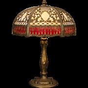 Huge Lavish Empire Intricate Overlay Slag Glass Lamp