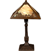 Exotic Miller Desert Scenic Slag Glass Lamp