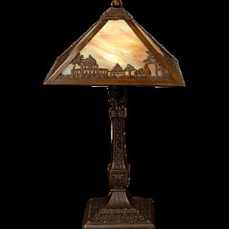 Exotic Miller Desert Scenic Slag Glass Lamp