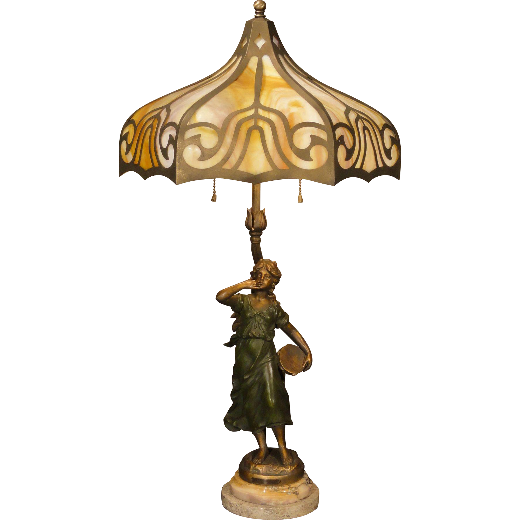 Tall, Lovely Moreau Art Nouveau Tambourine Lady w/ Slag Glass Cut Brass Shade