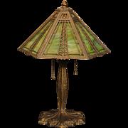 Lovely Miller Crossover Arts & Crafts, Art Nouveau Double Slag Glass Lamp
