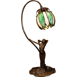 Gorgeous Art Nouveau lady figural lamp w/ Petal Slag Glass Shade