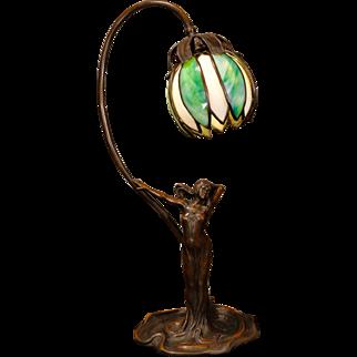 Gorgeous Art Nouveau lady figural lamp w/ Petal Slag Glass Shade