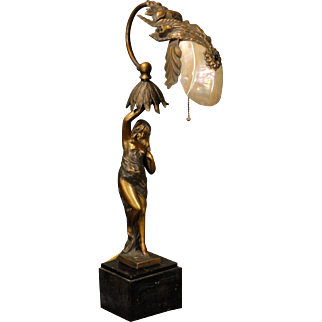 Art Nouveau Lady Figural Lamp w/ Brass and Marmoratus Shell Shade