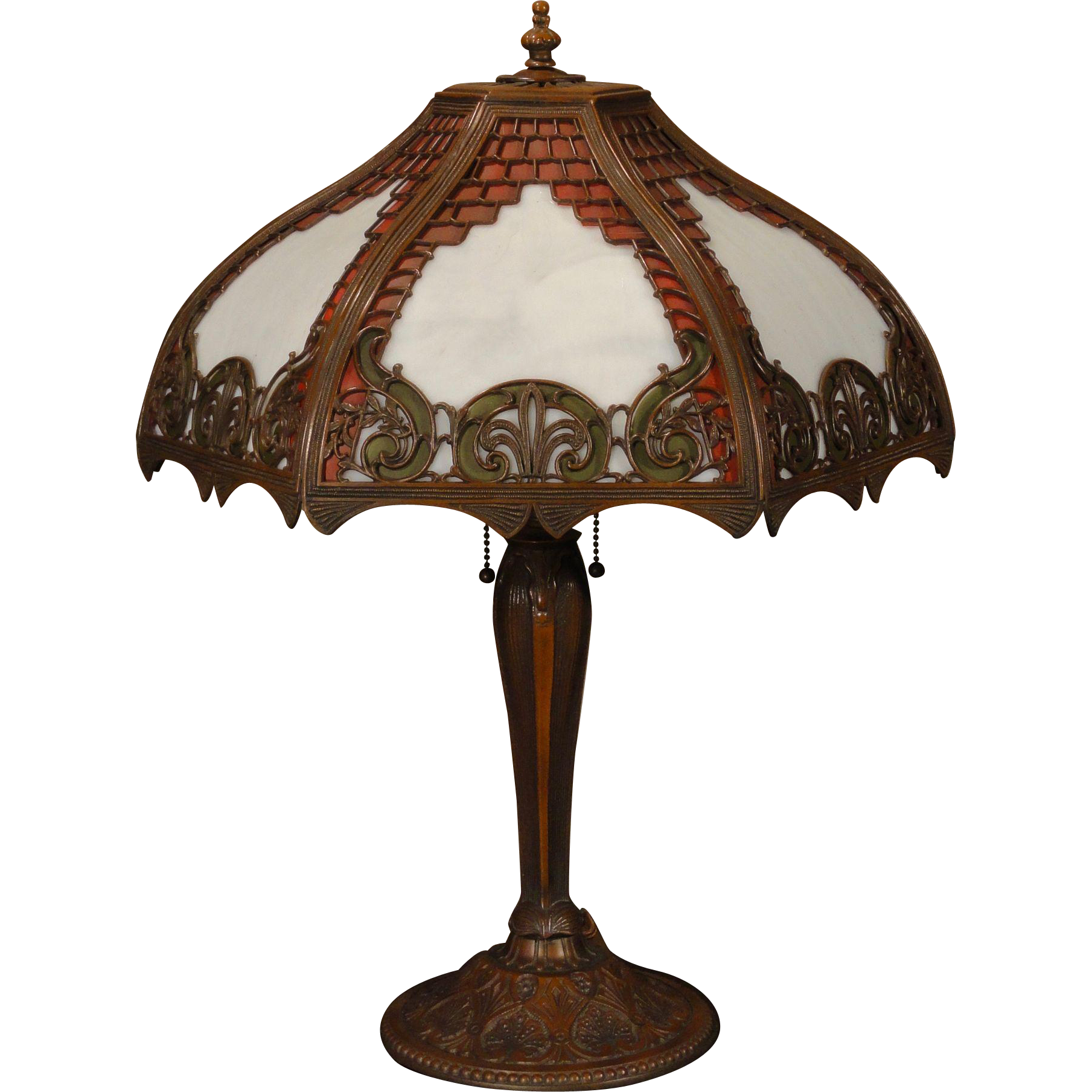 Ornate Floral & Brickwork Obverse Painted White Opaline Glass Lamp