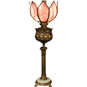Electrified Victorian Banquet Lamp w/ Slag Glass Shade