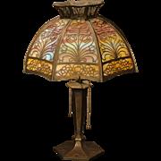 Stunning Miller Art Nouveau Overlay Double Slag Glass Panel Lamp
