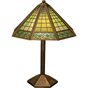 Stately Bradley & Hubbard Arts & Crafts Brickwork & Clover Design Slag Glass Lamp