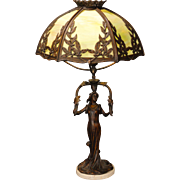 Magnificent Art Nouveau Stunning Lady with Leaves Slag Glass Lamp
