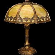 Large Gorgeous Art Nouveau Floral & Leaf Design Slag Glass Lamp
