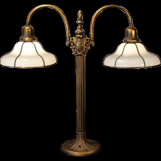 Large Majestic Slag Glass Partners Desk Lamp