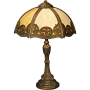 Ornate Fluer de Lis Obverse Painted Slag Glass Lamp