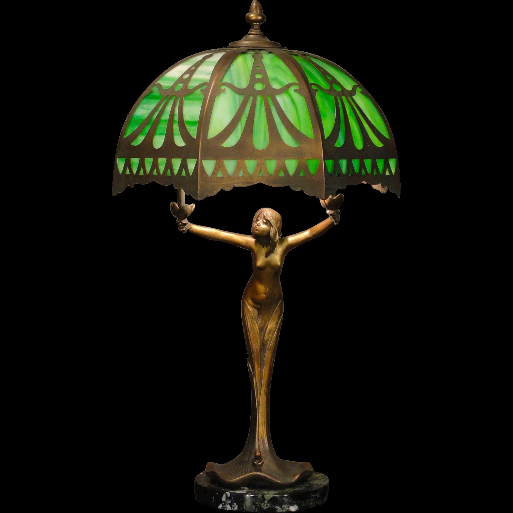 Magical Art Nouveau Plant Nymph Slag Glass Figural Lamp W