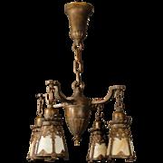 Beautiful Bronze 4 Armed Slag Glass Hanging Lamp