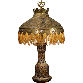 Exotic Persian Enameled Crystal Art Lamp w/ Mica Lined Hand Pierced Shade
