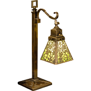 Gorgeous Adjustable Acid Etched Brass Slag Glass Desk/ Piano Lamp