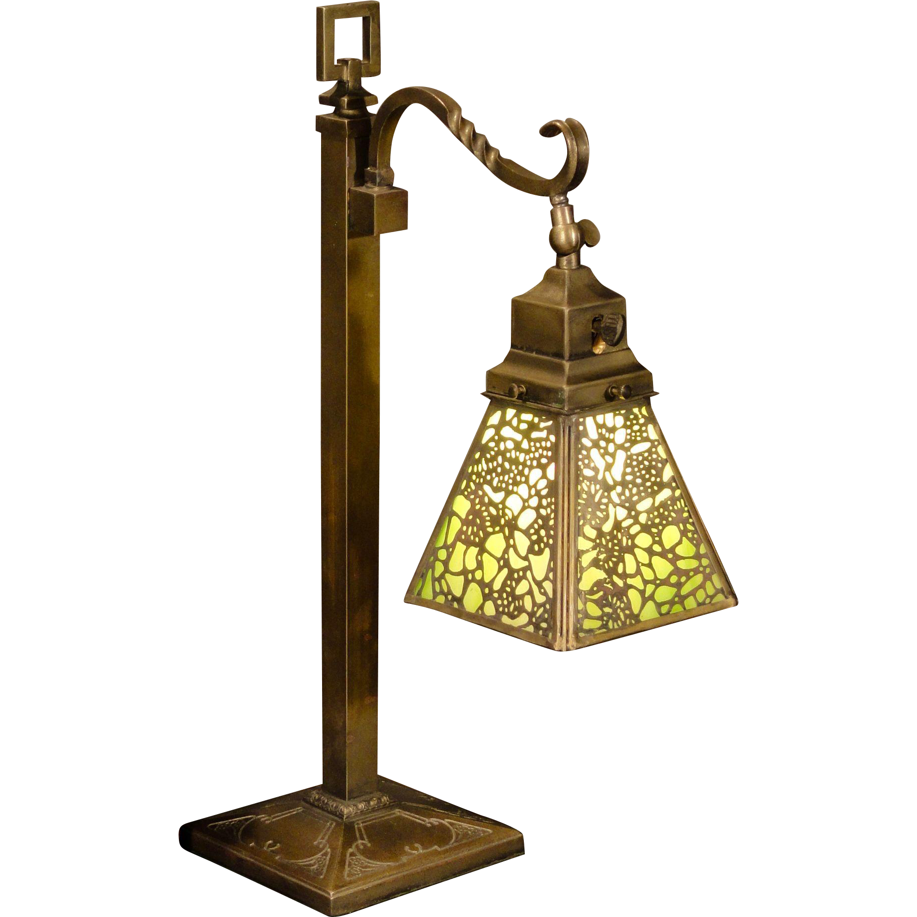 Gorgeous Adjustable Acid Etched Brass Slag Glass Desk/ Piano Lamp
