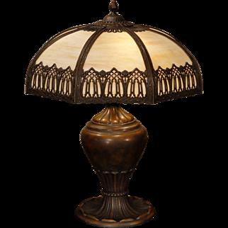 Large Dramatic Gothic Slag Glass Lamp