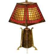 Solid Brass Arts & Crafts Lamp w/ Obverse Painted Mica Shade