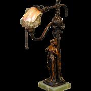 Elegant Art Nouveau Lady & Tree Figural Lamp w/ Jeweled Marmoratus Shell Shade