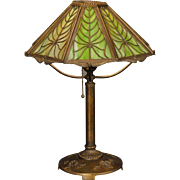 Sublime Bradley & Hubbard Slag Glass Philodendron Lamp