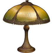 Lovely Large Graduated Reverse Painted Prairie Grass Ribbed Glass Lamp