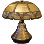 Stunning Large Bradley & Hubbard Arts & Crafts 3 Color Reverse/Obverse Painted Lamp w/ Pod Base