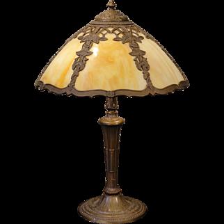 Signed Miller Morning Glory/Trellis Slag Glass Lamp