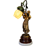 Fabulous French Art Nouveau Gypsy Figural Lamp w/ Tulip Shade