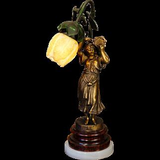 Fabulous French Art Nouveau Gypsy Figural Lamp w/ Tulip Shade