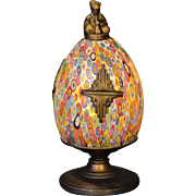 Art Deco Millefiori Novelty Lamp w/ American Indian Finial