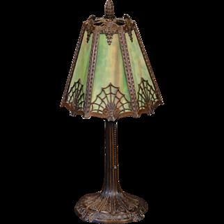 Tall Lovely Miller Spider Web Design Slag Glass Boudoir Lamp