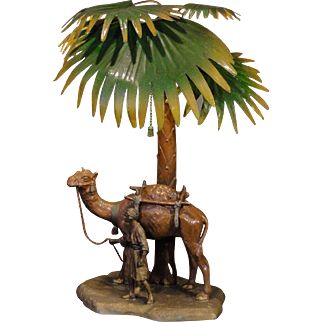 Fabulous Austrian Cold Painted Arabian Camel/ Palm Tree Figural Scenic Lamp