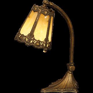 Beautiful Cartouche Slag Glass Desk or Piano Lamp