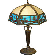Tall Serene Scenic Empire Double Panel Slag Glass Lamp