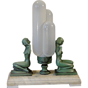 Enchanting Early Art Deco Nude Figurals w/ Fabulous Opalescent Glass Triple Bubble Shade