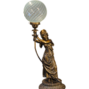 "Large Fabulous 36"" Tall Art Nouveau Gypsy Figural Lamp w/ Opalescent Swirl Shade"