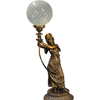 "Large Fabulous 36"" Tall Art Nouveau Gypsy Figural Lamp w/ Opalescent Swirl Shade"