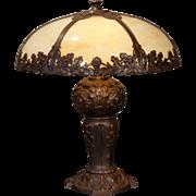Large Magnificent Grapevine Slag Glass Lamp w/ Huge Fabulously Designed Base