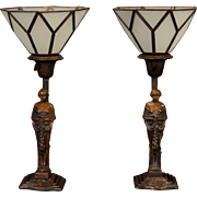 Lovely Pair of Early Art Deco Figural Mantle Lamps